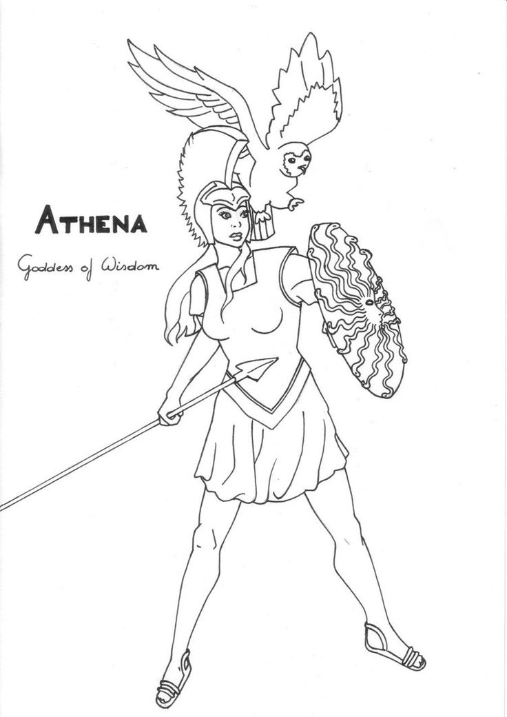 Athena Greek Goddess Coloring Pages