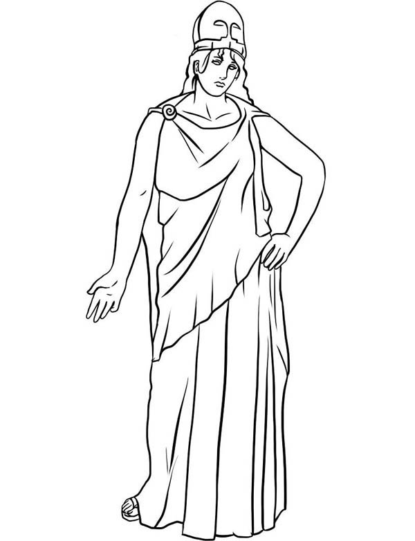 600x782 Drawing Of Athena Ffrom Greek Gods And Goddesses Coloring Page