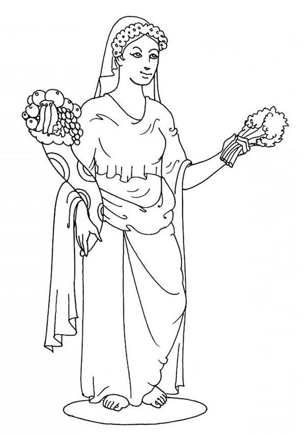 600x849 Goddes Demeter From Greek Gods And Goddesses Coloring Page