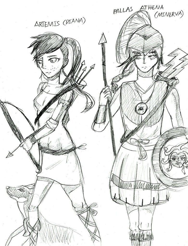 782x1022 Greek Mythology Athena And Artemis