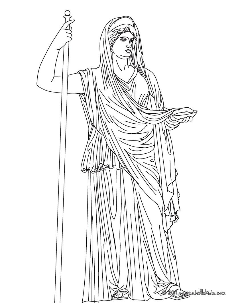 821x1061 Kleurplaat Hera The Greek Matron Goddess Coloring Page Goddesses