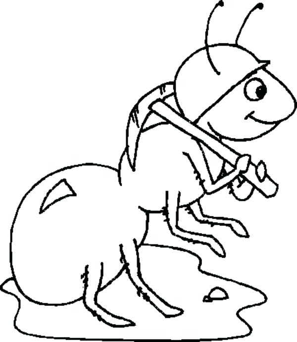 600x691 Ants Coloring Pages Worker Ant Wearing Helmet Coloring Page Atom