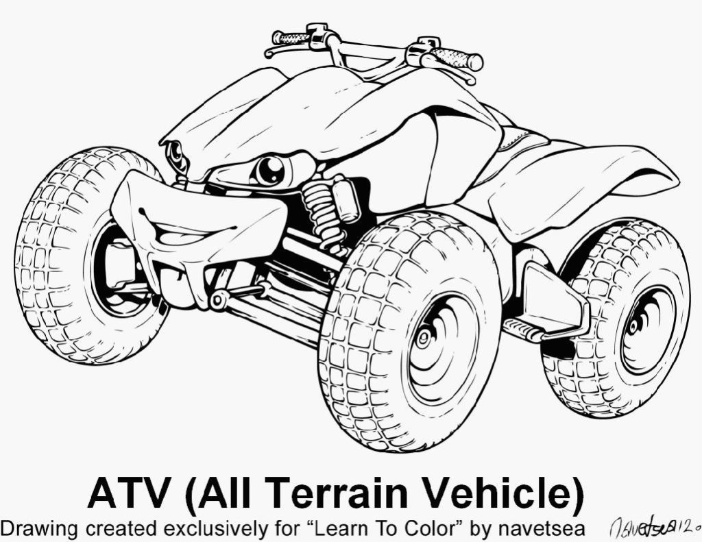 1024x791 Atv Coloring Page Sbmass Wheeler In Style Noticeable Four