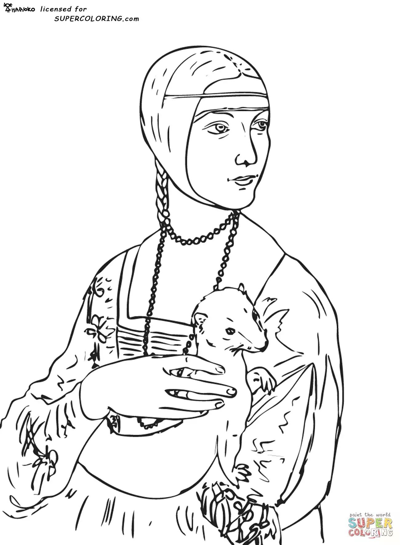 1300x1770 Free Coloring Page Coloring Leonard De Vinci Lady With An Ermine