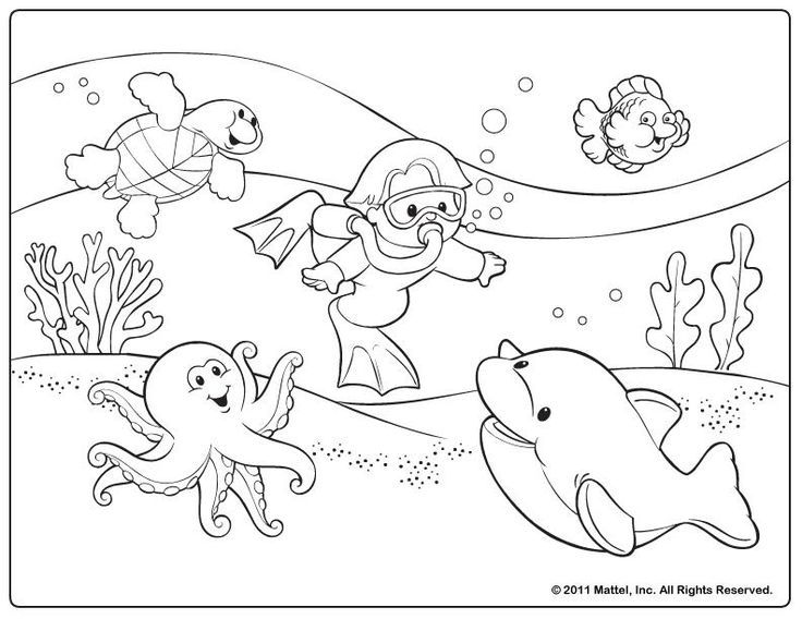 736x568 Image Result For Cartoon Coloring In Picture Of A Fish Scene Pre