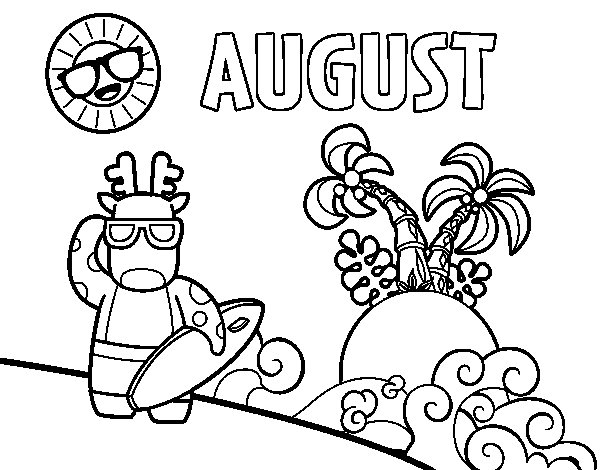 600x470 August Coloring Page Coloringcrew Com For Pages