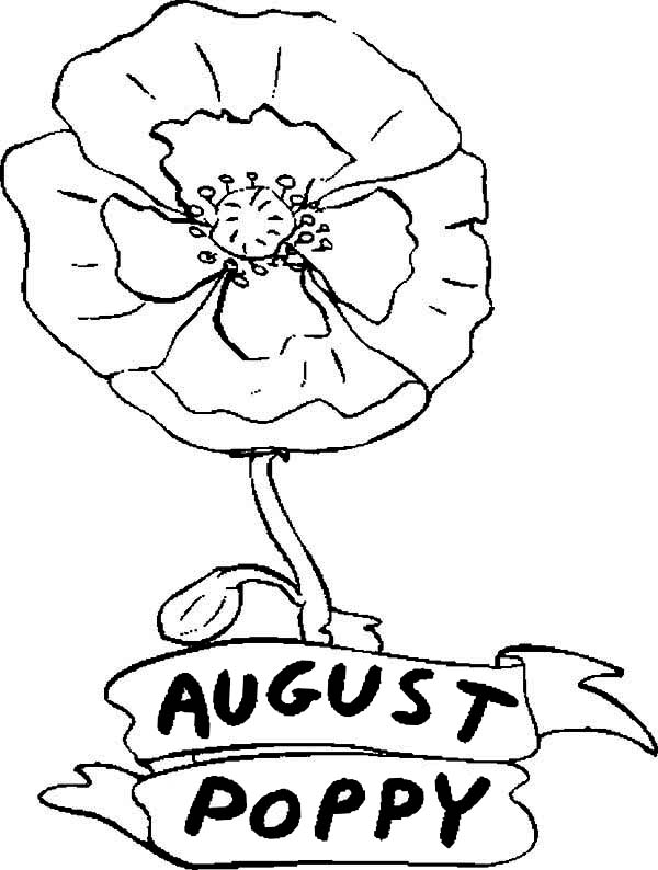 600x794 Poppy Flower In August Coloring Page Color Luna