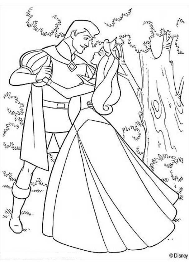 607x850 Aurora Dancing With Prince Philip Coloring Page Wedding