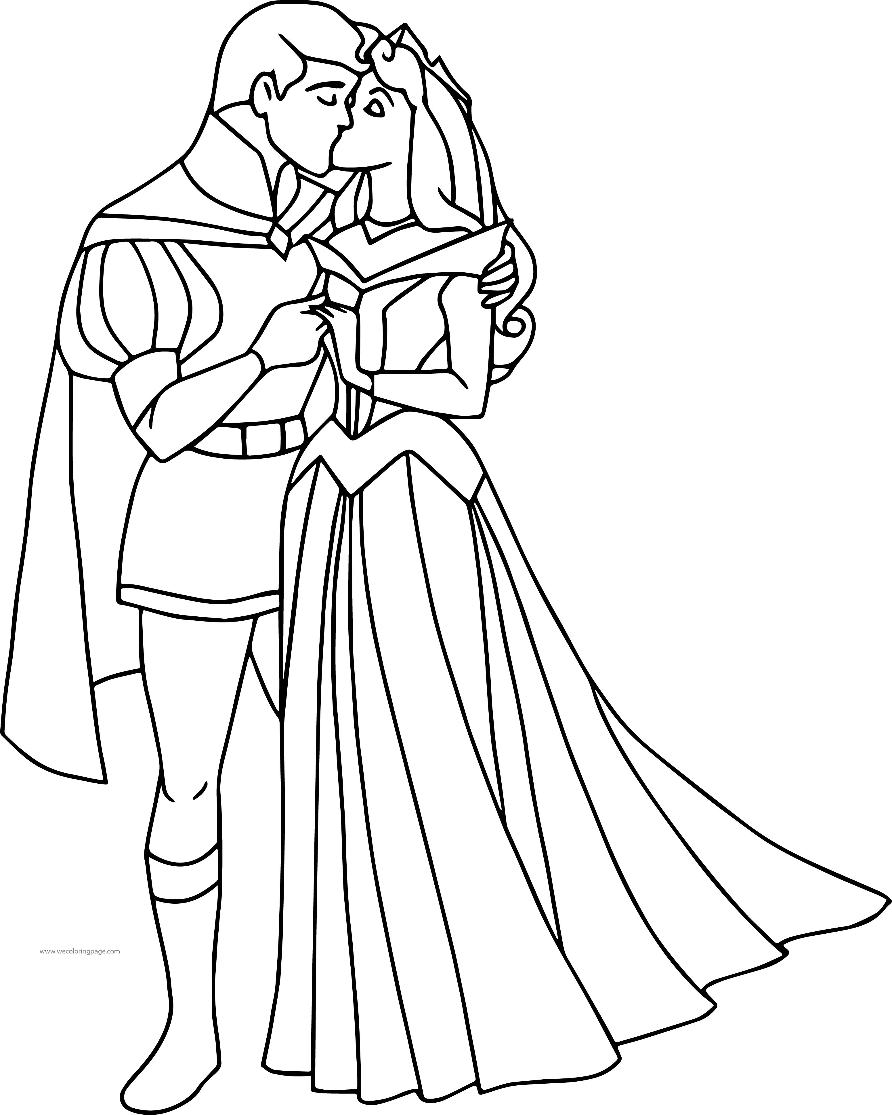 3101x3873 Disney Aurora And Phillip Kiss Coloring Pages Wecoloringpage