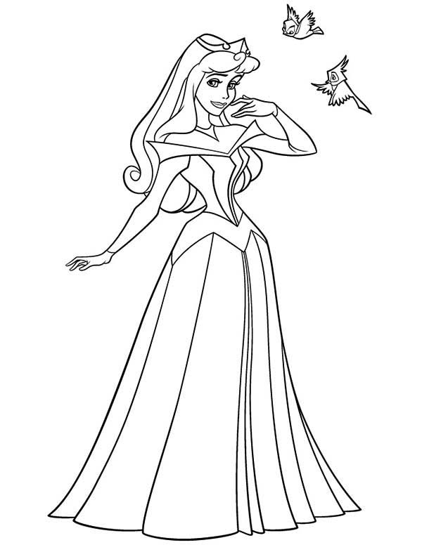 600x776 Princess Aurora And Twi Little Birds In Sleeping Beauty Coloring
