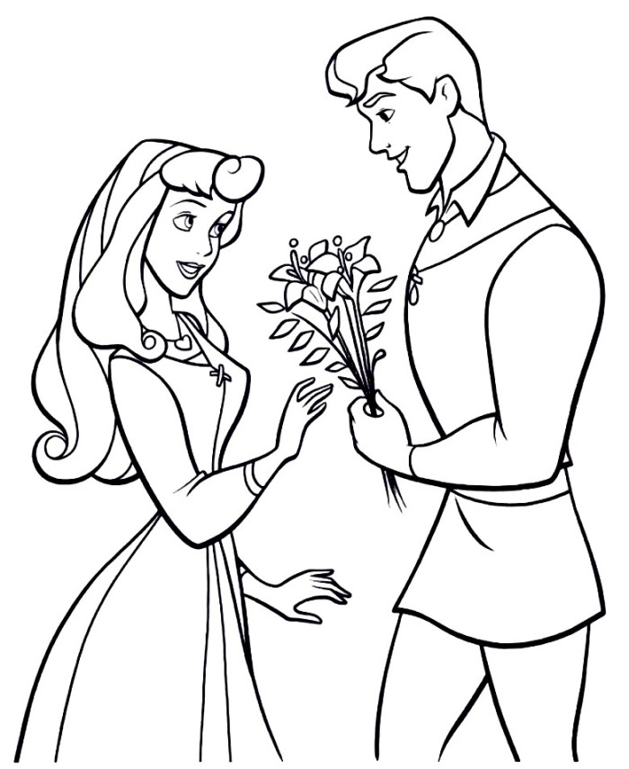 700x856 Sleeping Beauty And Prince Philip Coloring Pages The Prince Giving