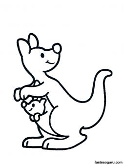 254x338 Free Printable Animal Kangaroo With Baby Coloring Pages For Kids