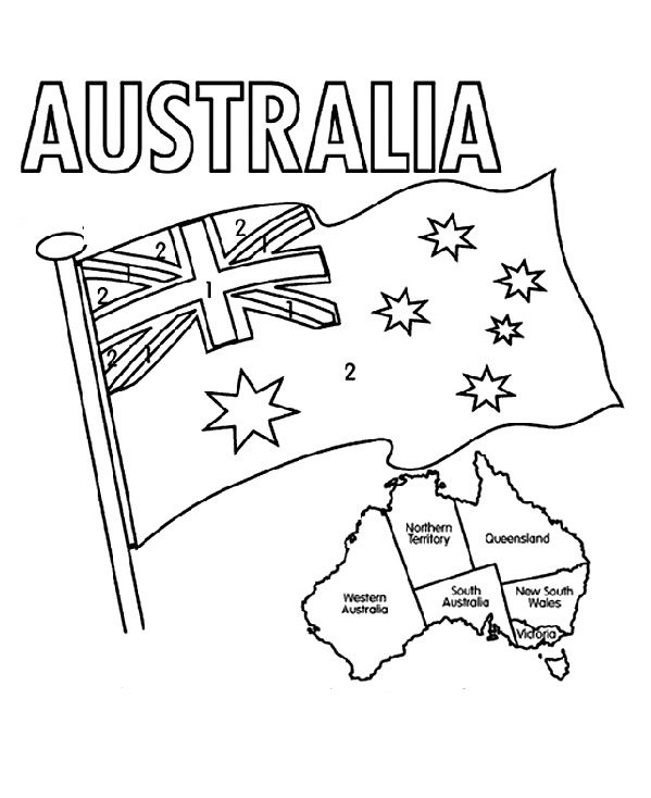 599x734 The Australian Flag Flying Day Coloring Pages Camp Activities