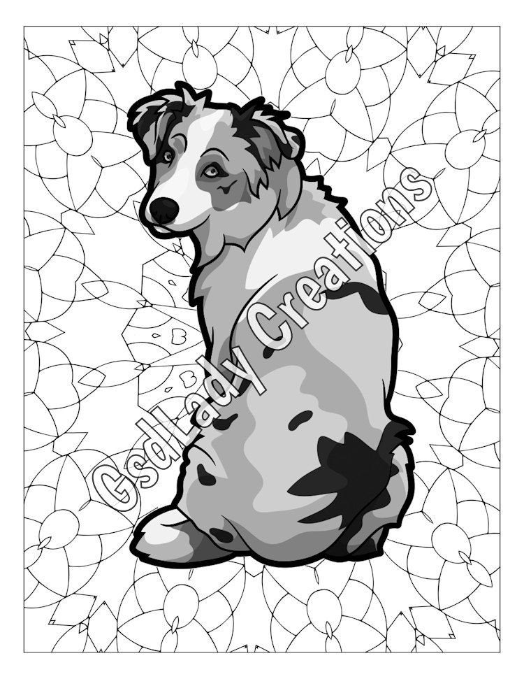 750x971 Dog Art, Greyscale Coloring Page, Australian Shepherd, Dog