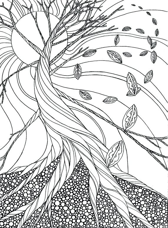 570x776 Autumn Coloring Pages For Adults Items Similar To Dead Tree Autumn