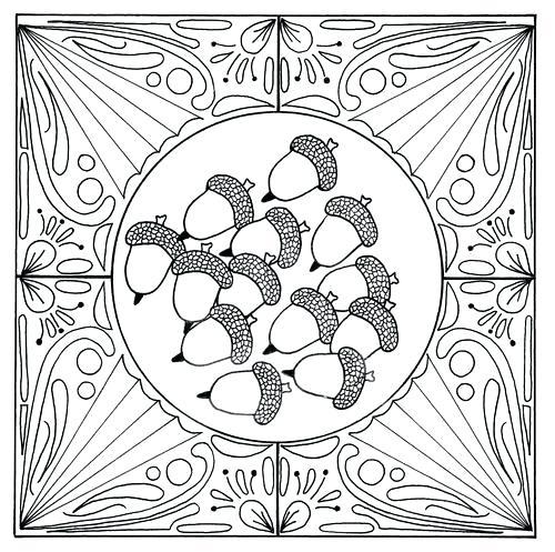 500x497 Fall Acorn Mandala Adult Coloring Page Fall Acorn Mandala Adult