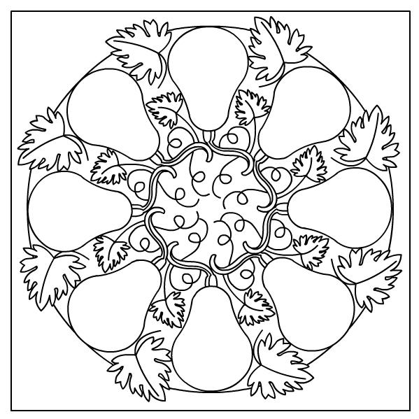 599x599 Autumn Mandala Coloring Pages Outlines Mandala