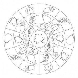 300x300 Autumn Mandala Coloring Page