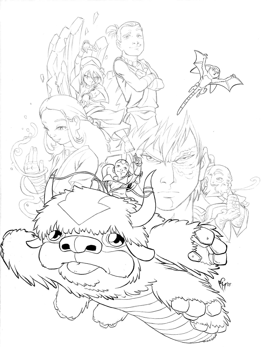 1100x1430 Fnaf Coloring Pages R Cute Avatar The Last Airbender Momo