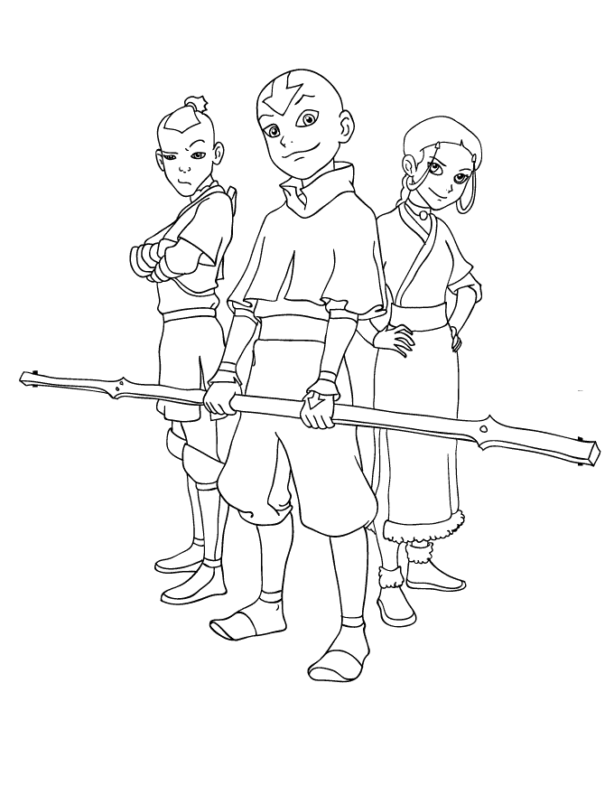 680x880 Avatar Aang And Friends Avatar The Last Airbender Coloring Pages