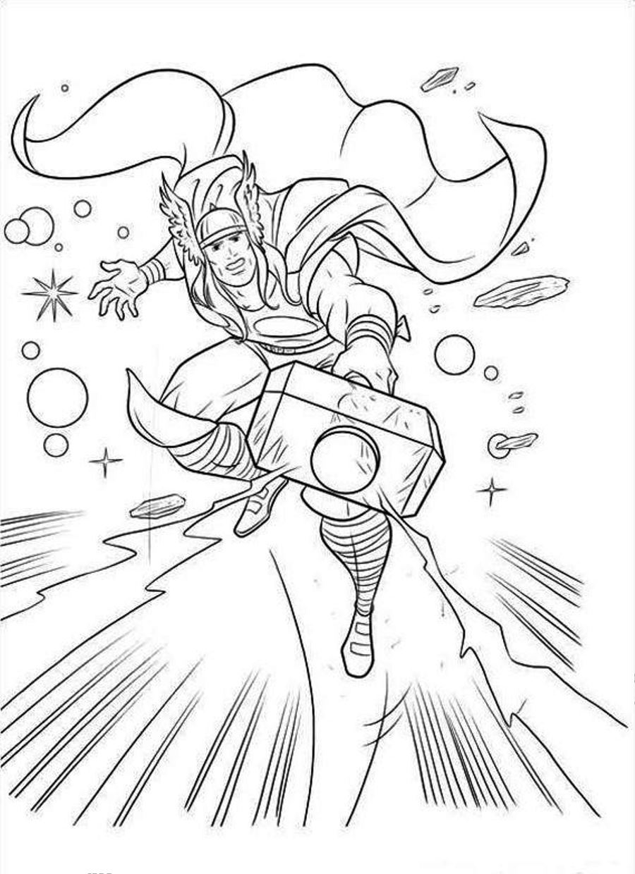 900x1240 Thor Coloring Pages