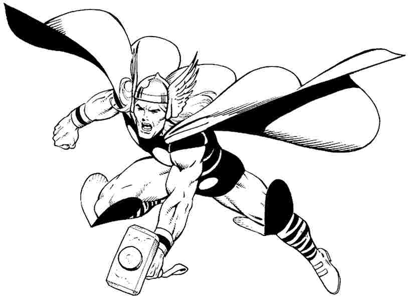 814x600 Thor Coloring Pages Avengers Thor Superhero Coloring Page