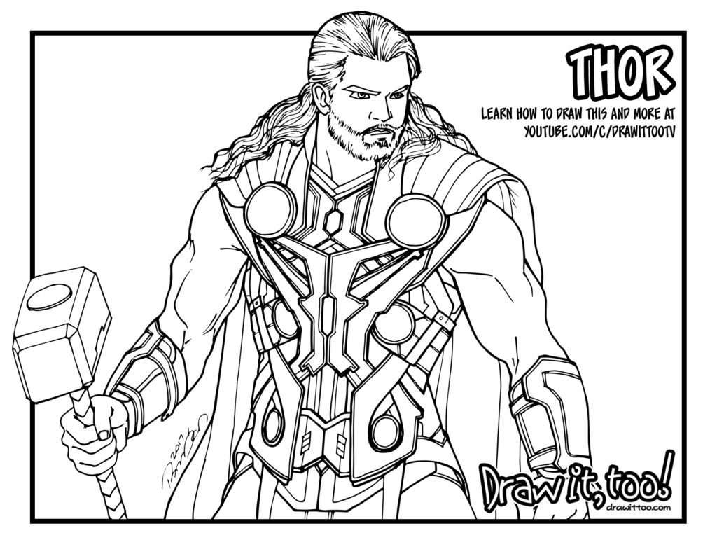 1024x791 Avengers Thor Coloring Page Free Printable Pages Also