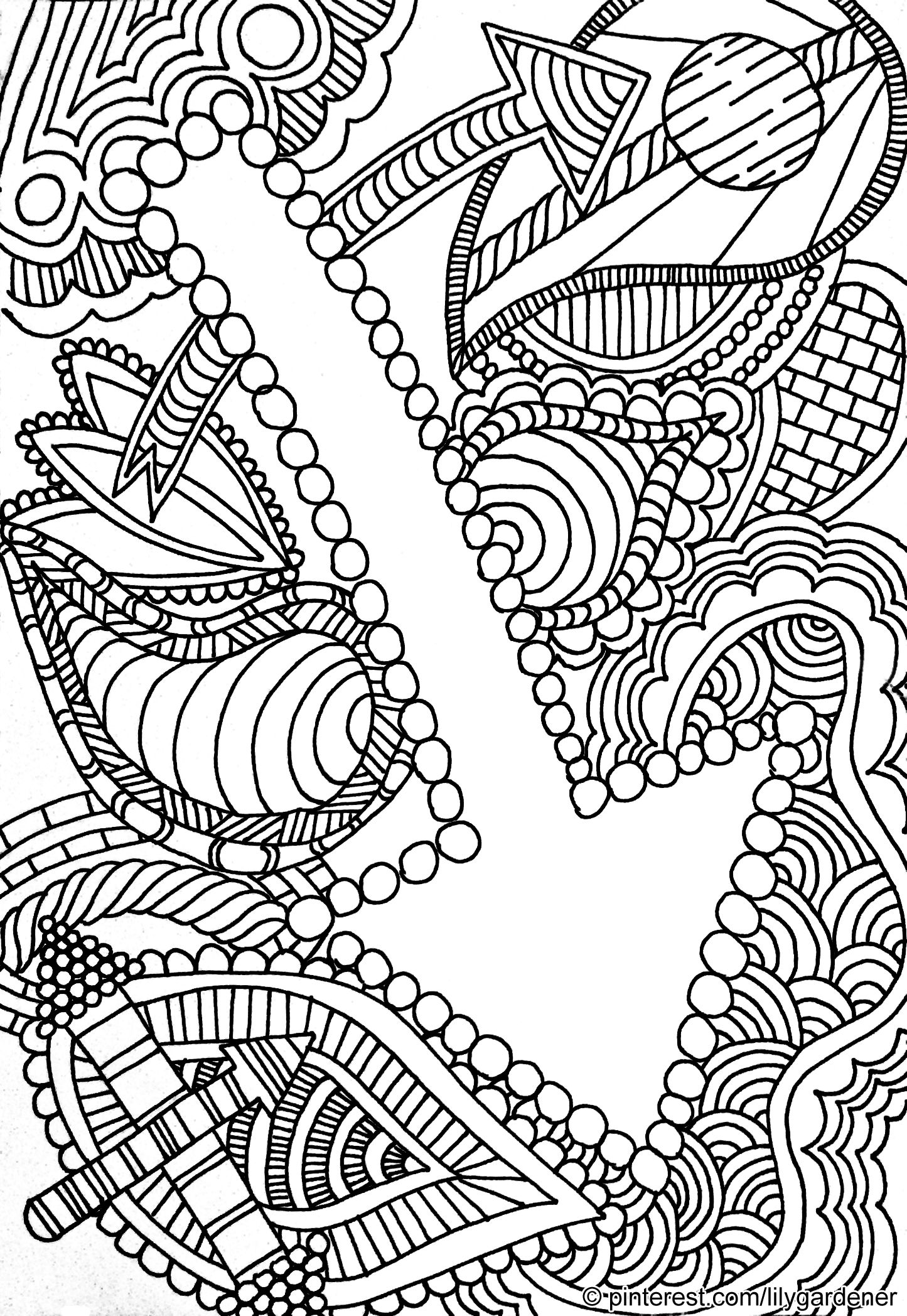 1445x2096 Abstract Coloring Page For Adults