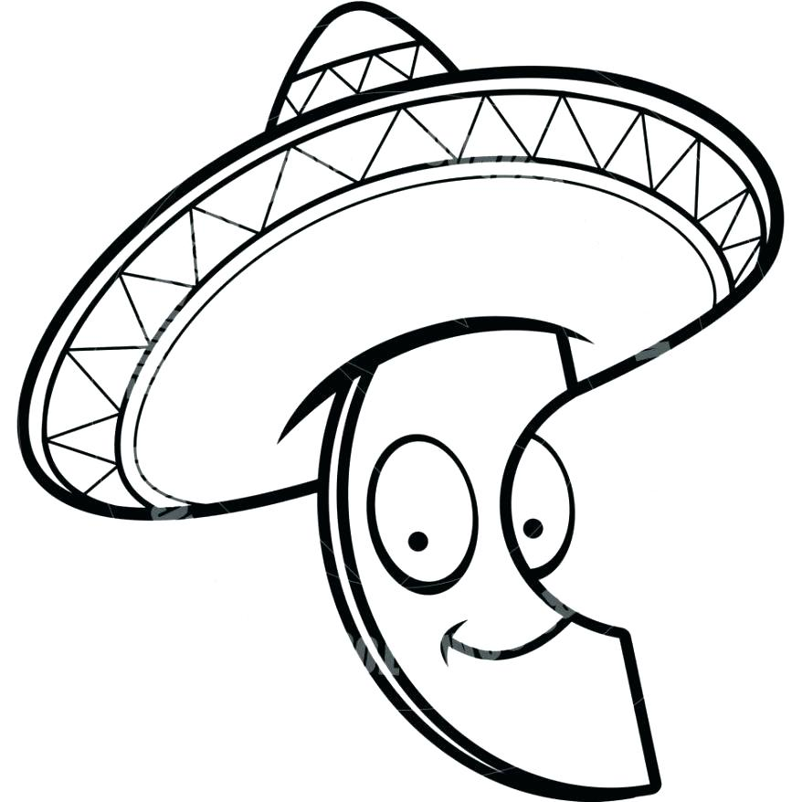 878x878 Sombrero Coloring Page Sombrero Coloring Page Cartoon Avocado