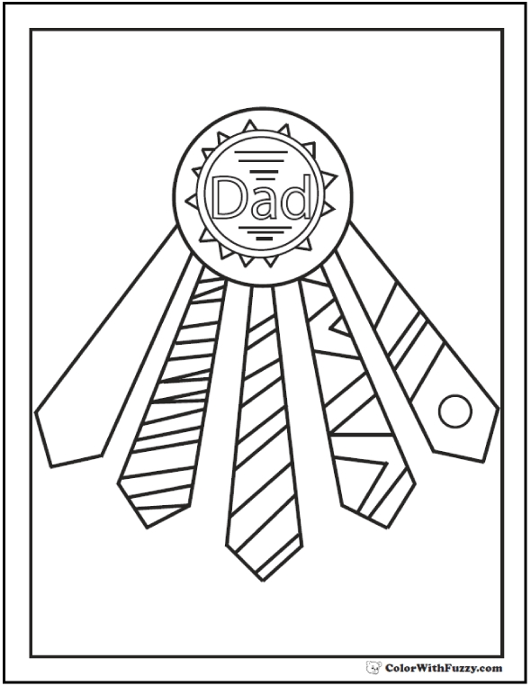 590x762 Tie Award Fathers Day Coloring Pages Ties For Ribbons Fathers Day