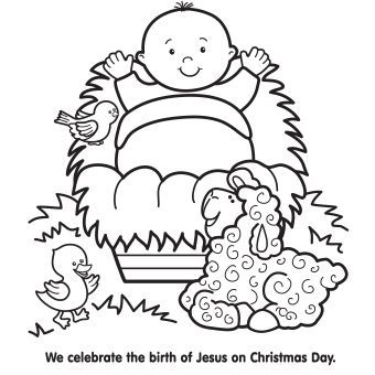 340x340 Jesus In Manger Coloring Page Crafts Sunday School