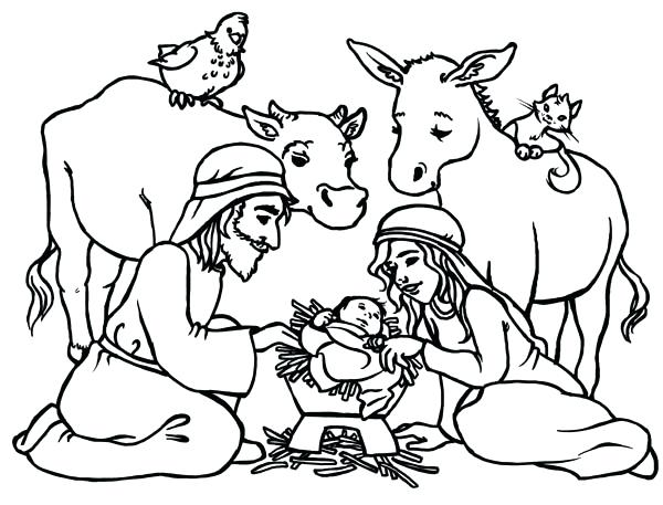600x457 Manger Coloring Page Manger Coloring Pages Baptism Coloring Page