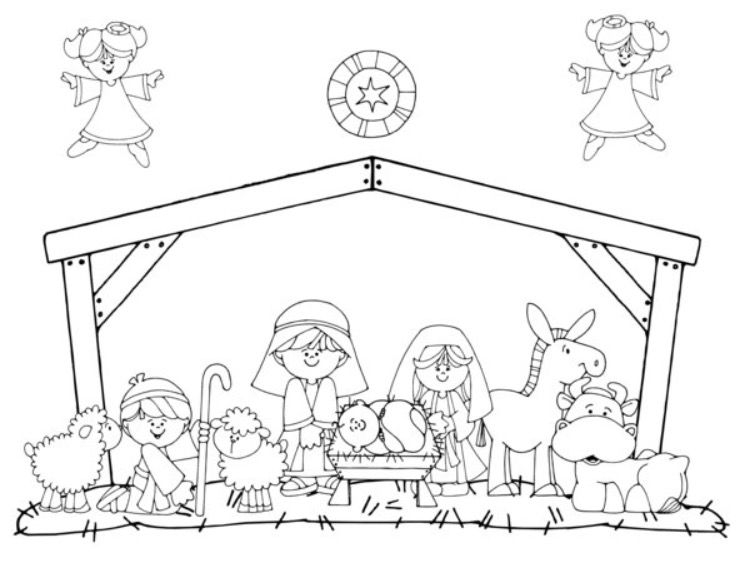 750x562 Nativity Coloring Pages For Preschool