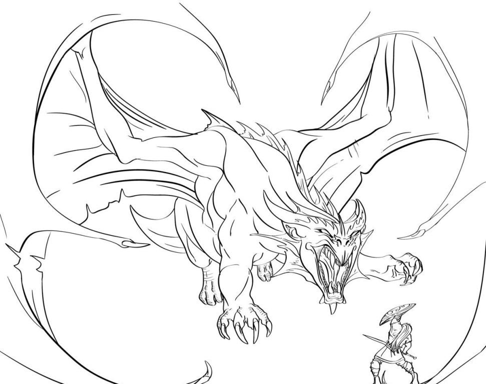 971x768 Cool Dragon Pictures To Color Dragon Coloring Pages Vs Knight