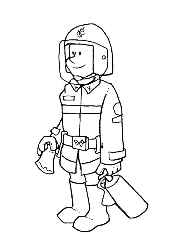 600x800 Firefighter Hat Coloring Page Cross Firefighter Axe Ladder