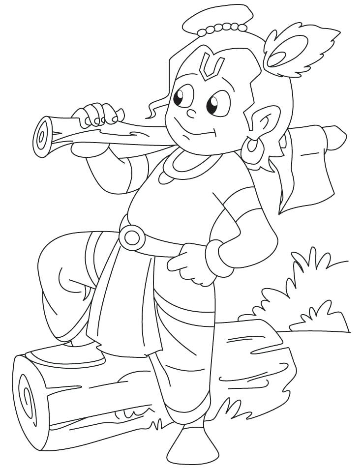 738x954 Lord Krishna Coloring Pages Lord Is Cutting Wood With His Axe