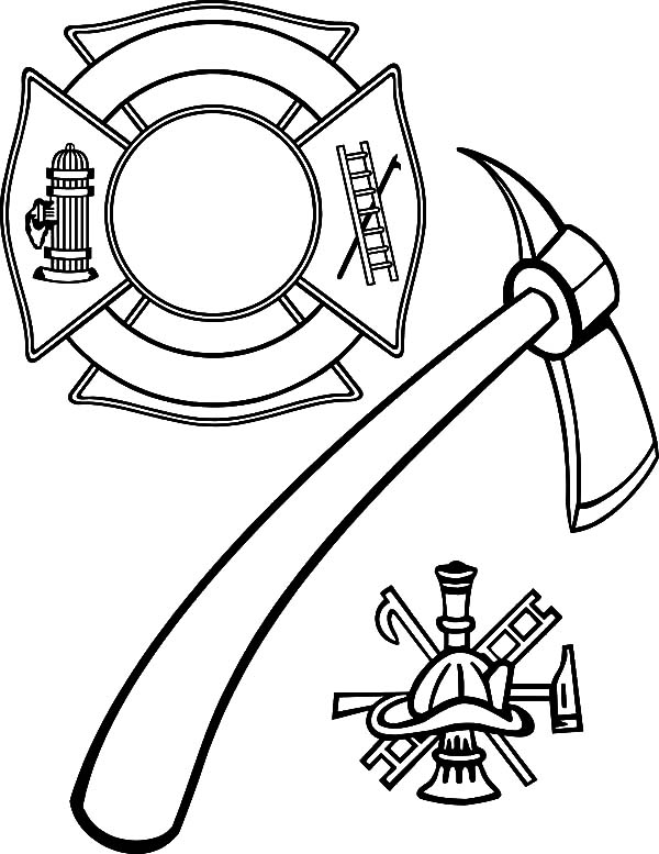 600x777 Maltese Cross And Firefighter Axe Coloring Pages