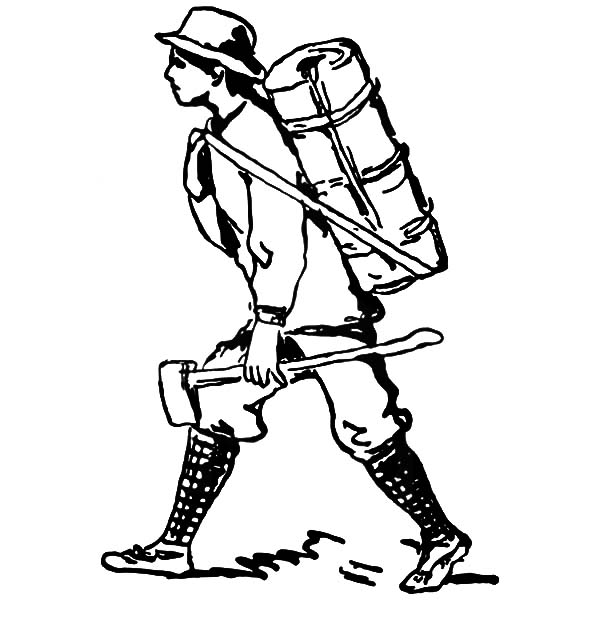 600x627 Marching To Camping With Backpack And Axe Coloring Pages