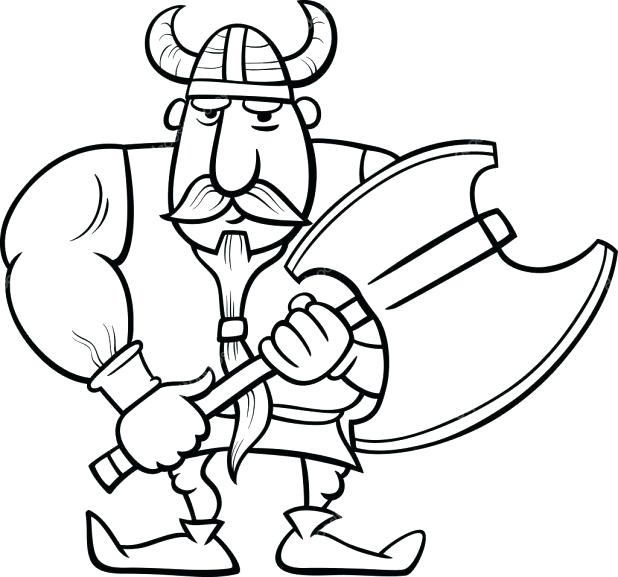 618x577 Viking Coloring Pages Black And White Cartoon Illustration