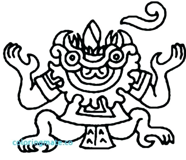 600x515 Aztec Coloring Pages God Of Death Coloring Pages Aztec Mayan