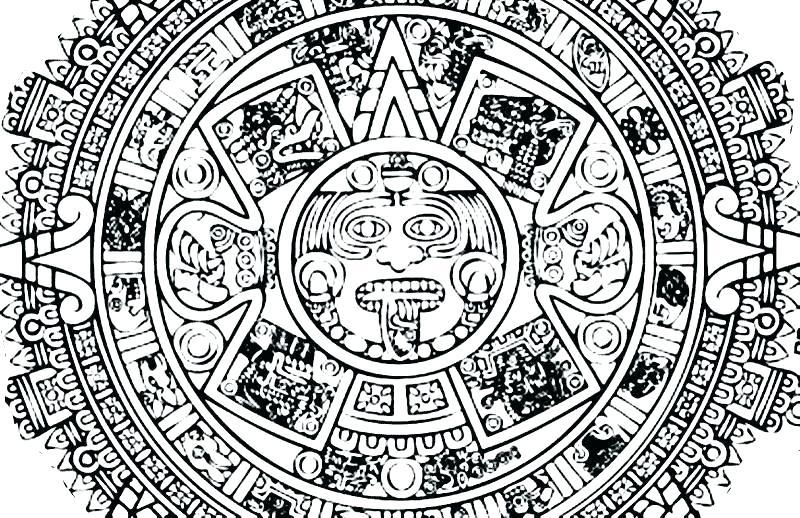 Aztec Calendar Coloring Page