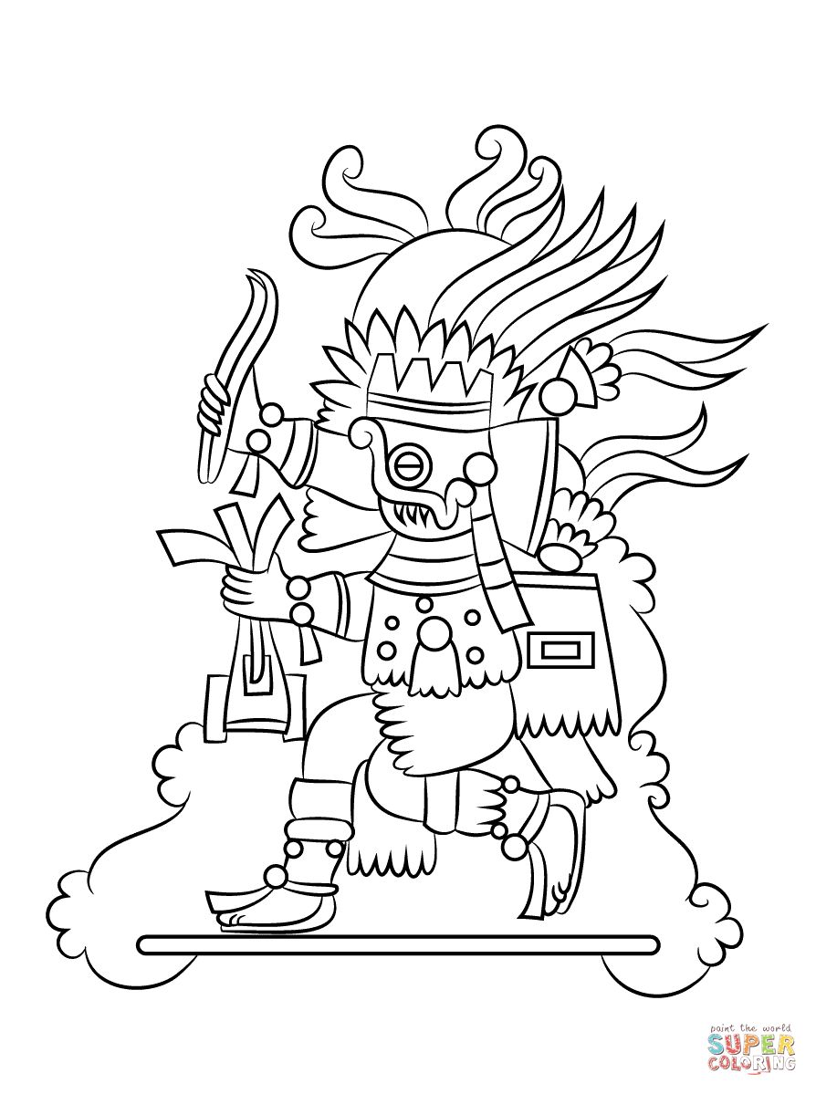 894x1199 Aztec God Tlaloc Coloring Pages For Aztec Coloring Pages