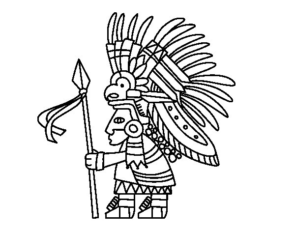600x470 Aztec Warrior Coloring Page