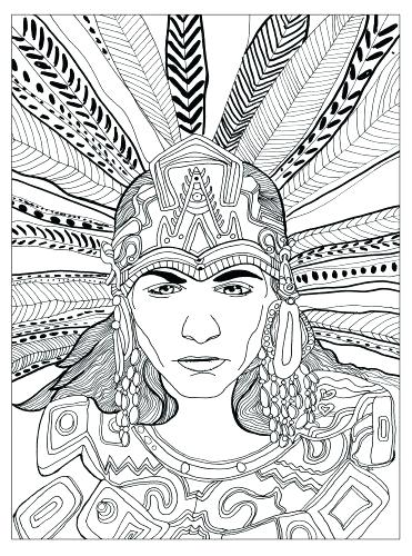 371x500 Coloring Pages Music Page Animal Aztec Adult Chief