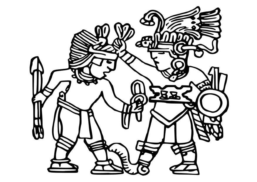 875x620 Coloring Page Aztec Murals