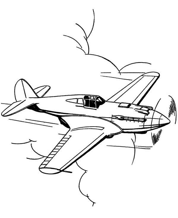 600x734 Mustang Us Fighter Airplane Coloring Page