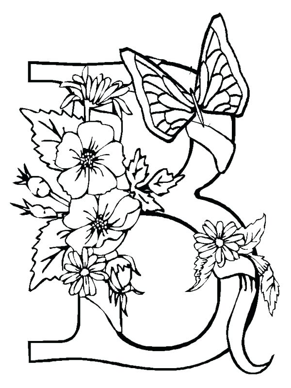 600x800 Letter B Coloring Page Alphabet Flowers With Butterfly Letter B