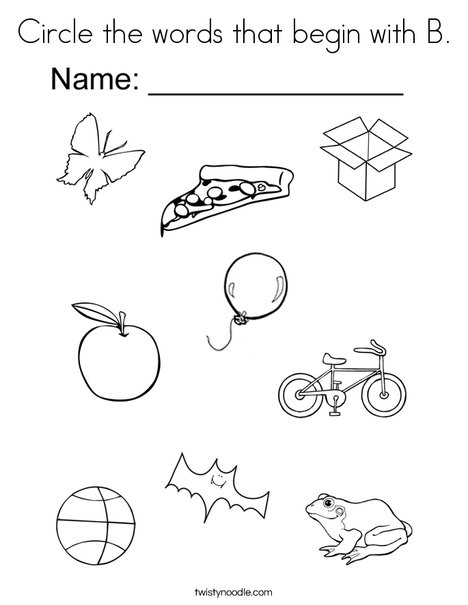 468x605 Circle The Words That Begin With B Coloring Page