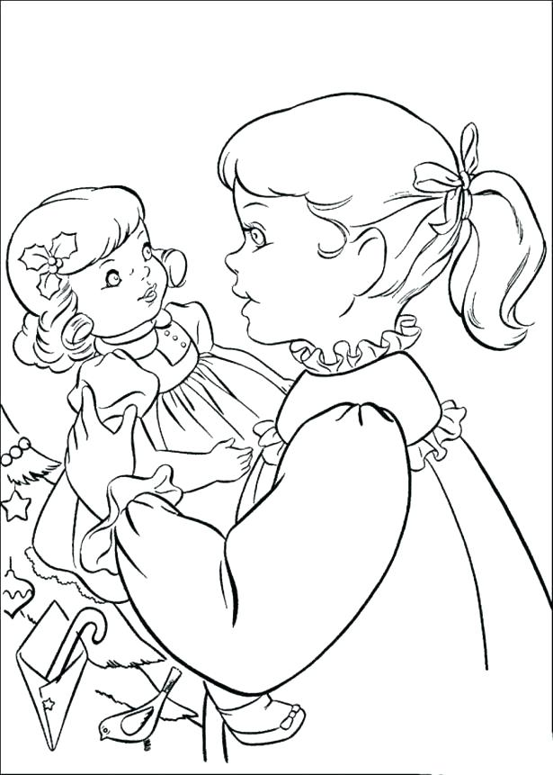 615x861 Baby Doll Coloring Pages To Print Girl Dolls Free For Kids Best