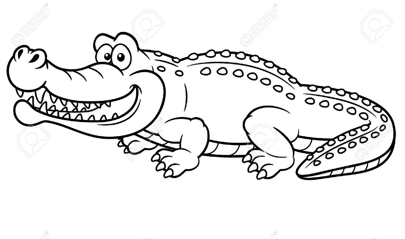 1300x768 Alligator Coloring Pages Cartoon Free For Preschool Printable Kids
